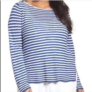 Eileen Fisher Striped Linen Pullover Top